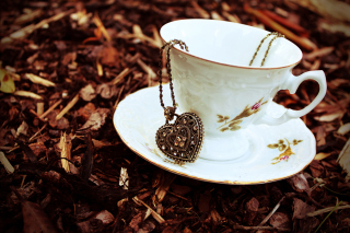 Heart Pendant And Vintage Cup Wallpaper for Android, iPhone and iPad