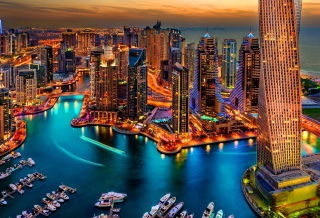 Dubai Marina And Yachts Background for Android, iPhone and iPad