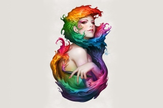 Free Digital Art Colorful Girl Picture for Android, iPhone and iPad