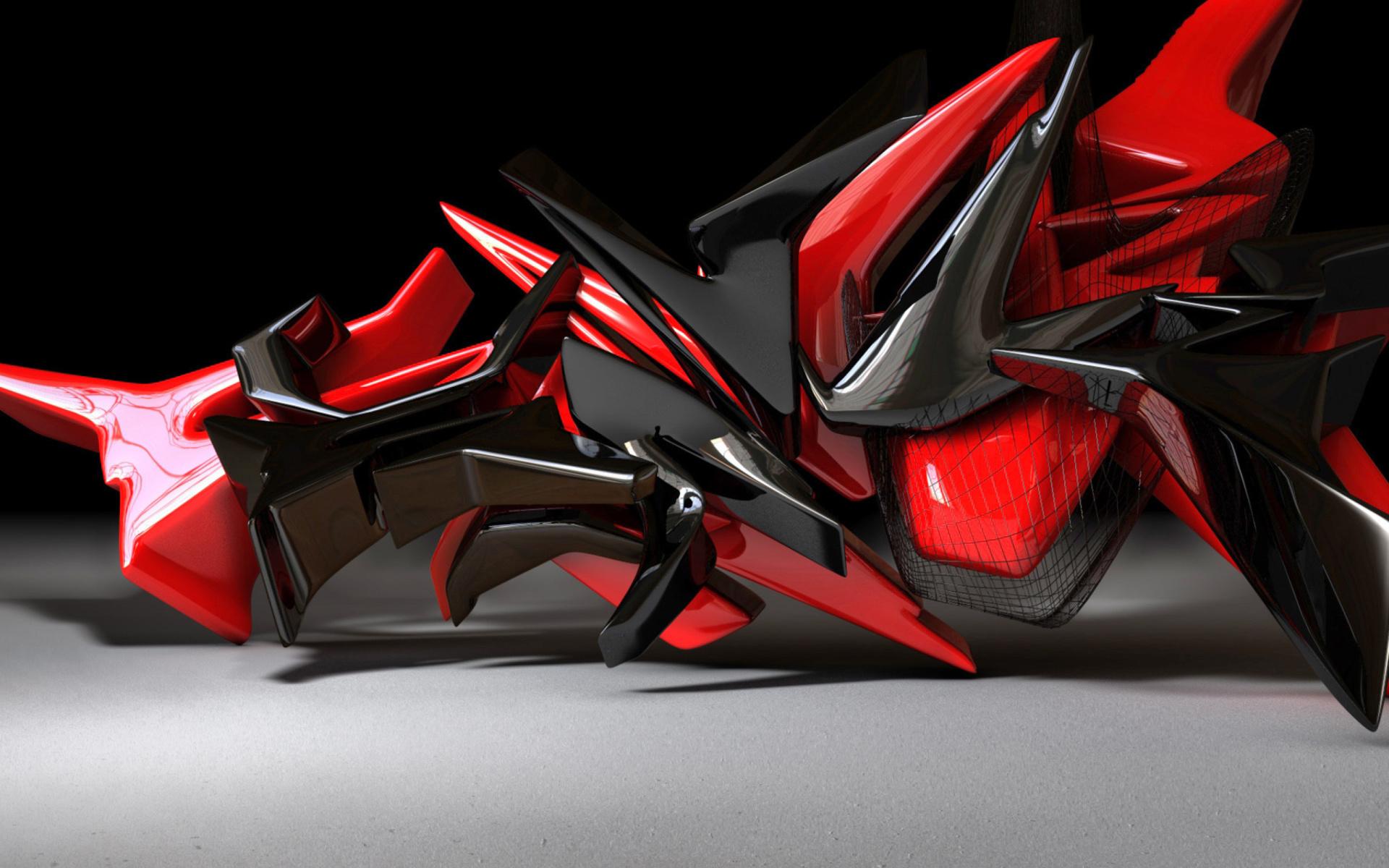 Black And Red 3d Design Wallpaper For Widescreen Desktop