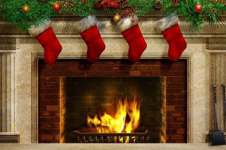 Fireplace And Christmas Socks Wallpaper for Android, iPhone and iPad