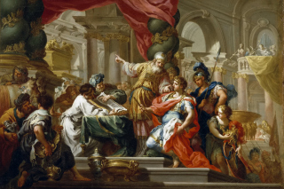 Alexander the Great in the Temple of Jerusalem Canvas Print by Conca Sebastiano - Obrázkek zdarma pro 800x600