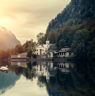 Beautiful House At Swan Lake - Obrázkek zdarma pro 320x320