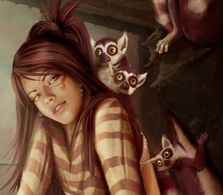 Brunette And Lemurs - Obrázkek zdarma pro iPad