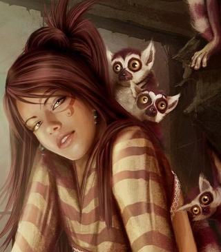 Brunette And Lemurs - Obrázkek zdarma pro Nokia C2-01