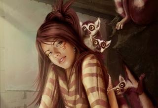 Brunette And Lemurs - Obrázkek zdarma pro Sony Xperia Z2 Tablet