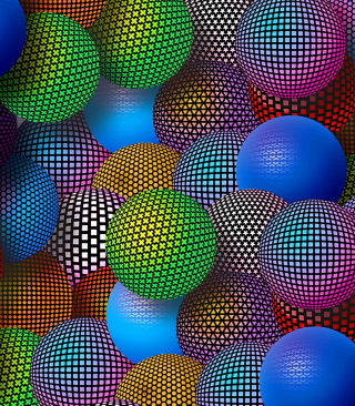 3D Neon Balls - Obrázkek zdarma pro Nokia Asha 305