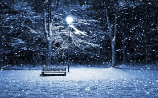 Lonely Bench In Snowy Night Wallpaper for Android, iPhone and iPad