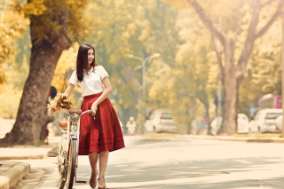 Free Romantic Girl With Bicycle And Flowers Picture for Android, iPhone and iPad