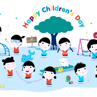 Happy Childrens Day on Playground - Obrázkek zdarma pro iPad
