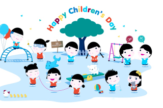 Happy Childrens Day on Playground - Obrázkek zdarma pro Fullscreen Desktop 1024x768