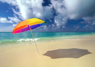 Rainbow Umbrella At Beach Background for Android, iPhone and iPad