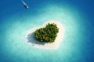 Heart Shaped Tropical Island Wallpaper for Android, iPhone and iPad