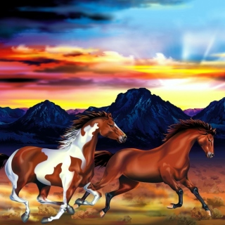 Painting with horses - Obrázkek zdarma pro 1024x1024
