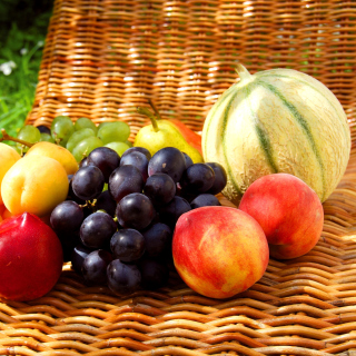Melons, apricots, peaches, nectarines, grapes, pear - Obrázkek zdarma pro 208x208