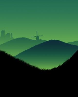 Green Hills Illustration - Obrázkek zdarma pro Nokia Asha 300