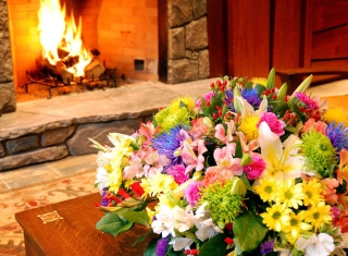 Free Bouquet Near Fireplace Picture for Android, iPhone and iPad