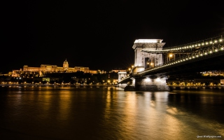 Free Chain Bridge at Night in Budapest Hungary Picture for Android, iPhone and iPad