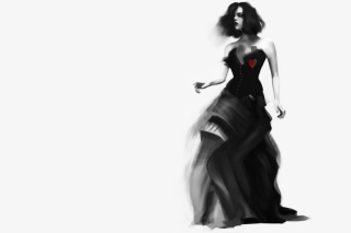 Girl Black And White Painting Background for Android, iPhone and iPad