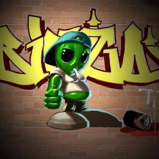 Alien Graffiti - Obrázkek zdarma pro 1024x1024