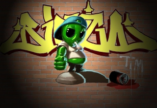 Alien Graffiti - Obrázkek zdarma pro 1200x1024