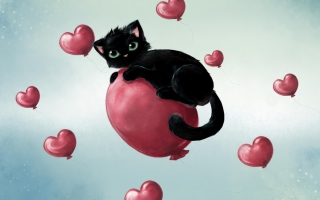 Black Kitty And Red Heart Balloons Wallpaper for Android, iPhone and iPad