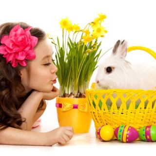 Girl and Rabbit - Obrázkek zdarma pro 208x208