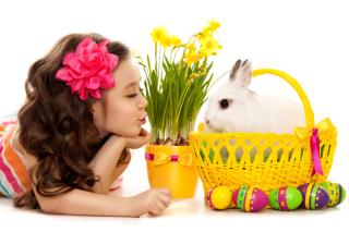 Girl and Rabbit - Obrázkek zdarma pro 1280x1024