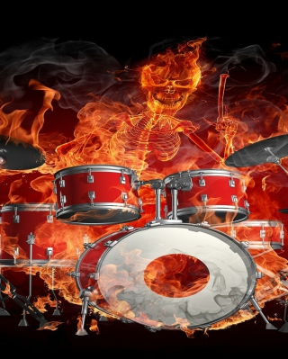 Skeleton on Drums - Obrázkek zdarma pro Nokia 206 Asha