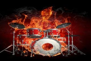 Skeleton on Drums - Obrázkek zdarma pro HTC Hero