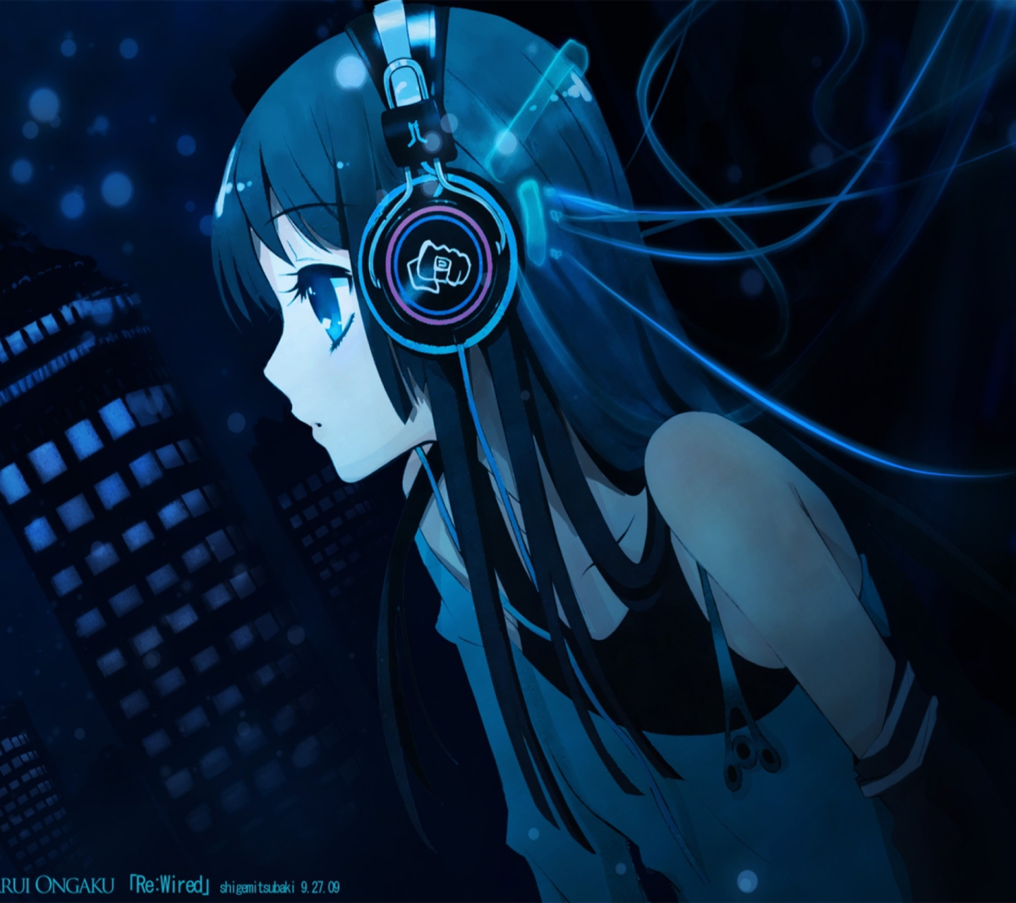 Headphones Wallpaper: Anime Girl With Headphones Wallpaper For Android 1440x1280