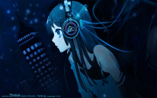 Free Anime Girl With Headphones Picture for Android, iPhone and iPad