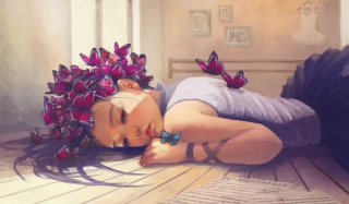 Butterfly Girl Painting Picture for Android, iPhone and iPad