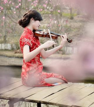 Pretty Asian Girl Violinist - Obrázkek zdarma pro Nokia Asha 310