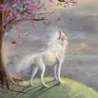 Art Wolf and Sakura - Obrázkek zdarma pro 208x208