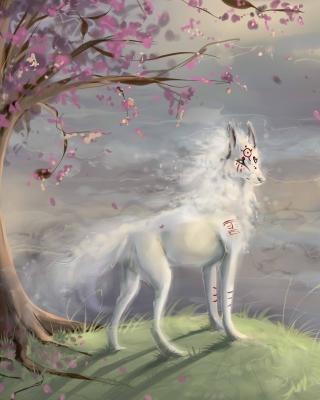 Art Wolf and Sakura - Obrázkek zdarma pro 480x854