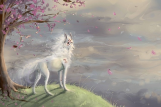 Free Art Wolf and Sakura Picture for Android, iPhone and iPad