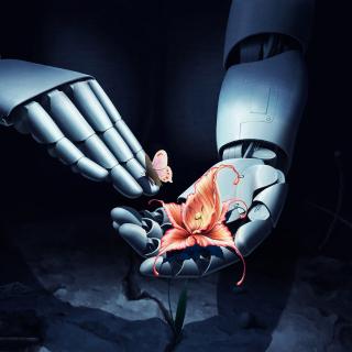 Art Robot Hand with Flower - Obrázkek zdarma pro iPad