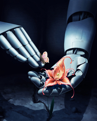 Art Robot Hand with Flower - Obrázkek zdarma pro 132x176
