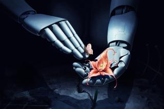 Art Robot Hand with Flower - Obrázkek zdarma pro Samsung Galaxy Tab 3 8.0