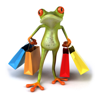 3D Frog Shopping - Obrázkek zdarma pro 1024x1024