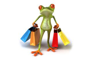 3D Frog Shopping - Obrázkek zdarma pro 1600x900