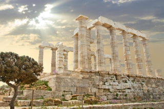 Poseidon Temple Sounion Greece Wallpaper for Android, iPhone and iPad