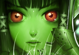 Green Anime Face Wallpaper for Android, iPhone and iPad