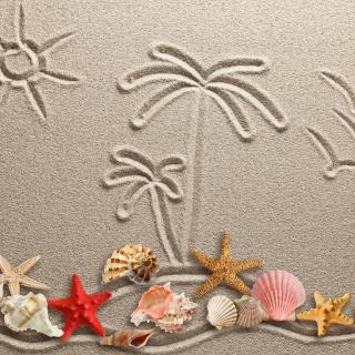 Seashells Texture on Sand - Obrázkek zdarma pro iPad