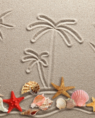 Seashells Texture on Sand - Obrázkek zdarma pro 320x480