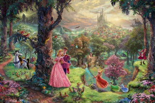 Sleeping Beauty By Thomas Kinkade Background for Android, iPhone and iPad