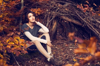 Girl In Autumn Forest Picture for Android, iPhone and iPad