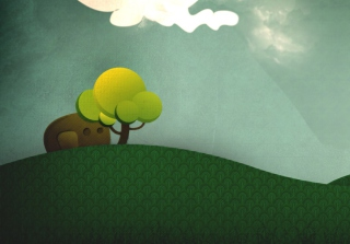 Elephant Hiding Behind Tree Background for Android, iPhone and iPad