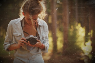 Blonde Girl Photographer Wallpaper for Android, iPhone and iPad
